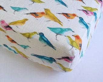 Bird Baby Sheet - Baby Girl Bedding/ Birds Crib Sheet / Mini Crib Sheets / Changing Pad Covers / Girls Fitted Sheet / Crib Bedding Etsy Cot