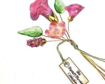 Pink Lampwork Flower Headpin Bouquet. Set of six headpins.