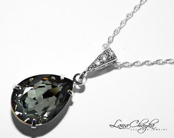 Silver Night Crystal Necklace Charcoal Dark Grey Rhinestone Necklace Swarovski Teardrop Pendant Silver Night Bridesmaids Wedding Necklace