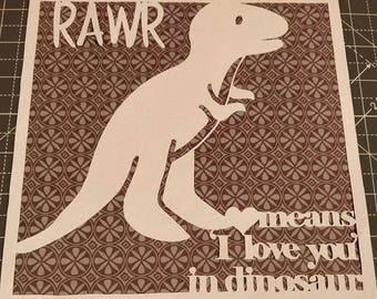 RAWR means I love you in dinosaur papercutting template| png/svg/dfx/eps/pdf format| Commercial Licence|Instant download