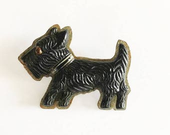 Scottish Terrier Brooch /  Scottie Dog Jewelry / Ladies Dog Brooch / Vintage Black Dog Brooch / Plastic Dog Brooch