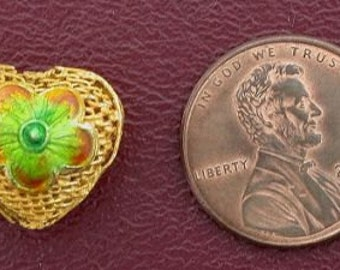 one 14mm gold heart floral  cloisonne bead