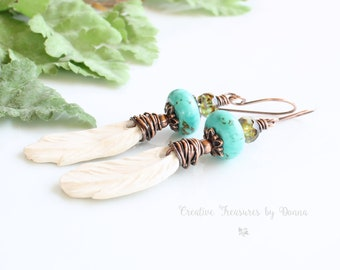 Copper Earrings, White Porcelain Feathers, Turquoise Gemstones, Czech Glass Beads, Southwest Earrings, Turquoise Earrings, Wire Wrapped