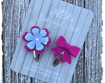 READY TO SHIP, Blue Fuchsia Wool Felt Flower Mini Bow Clip Set, Baby Clips, Infant Girls Adult Mini Snap Clips
