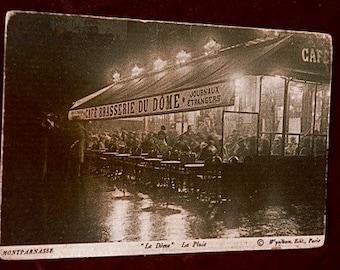 Antique French Postcard Paris: Cafe Brasserie Du Dome