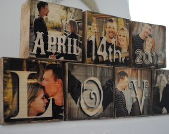 8 Photo Blocks - Images Transferred to Wood / Photo Transfer - 8 Letters word / name / phrase of choice - Great for Wedding Gifts!