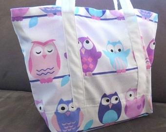 FREE SHIPPING ALWAYS -Purple Pink Owl print tote bag, cotton bag, reusable grocery bag, knitting project bag, beach bag, green market bag