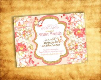 Printable Pink and Gold Sparkle Baby/Bridal Shower or Birthday Invitation