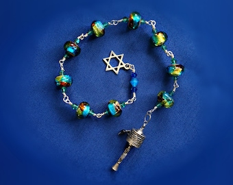 Judaic Inspired handmade Prayer bead SET - Boro Glass Sterling Silver Star of David Prayer scroll beads mediation