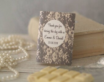 Personalised Lace wrappers / Wedding Favours Luxury Belgian Chocolate