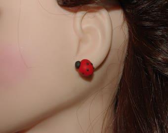 handmade Ladybug ear studs