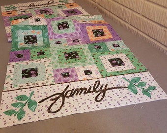 "Delightful Quilt Kit Featuring Family Table Runner Pattern and Camelot Fabrics' Make A Wish Collection, 18.5"" x 55"""