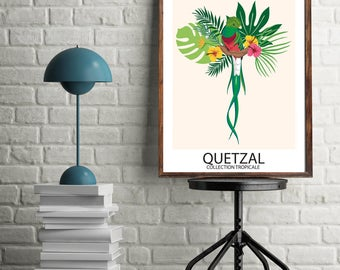 Digital Poster - Tropical Collection - Quetzal Bird - Download and print