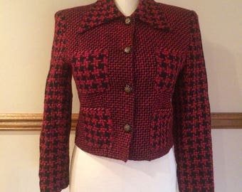 Vintage Marsha Brander for Componix Red and Black Check/Tweed Cropped Blazer Size 8