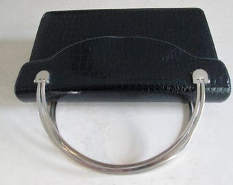 Black Patent Purse with Silver Handle.