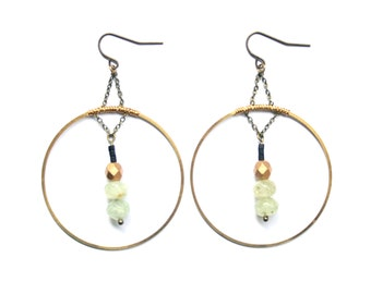 BONDI Earrings | Brass Circles with Prehinite and Glass Beads