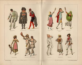 Antique lithograph of carnival masks, costumes and characters of Commedia dell'Arte, il Dottore, Pulcinella, Columbina, Pantalone from 1893