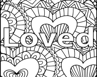 I Am Loved Adult Coloring Page - Inspiring Message Coloring Page - Positive Coloring Page for Adults - Gift Coloring Page - Printable Page