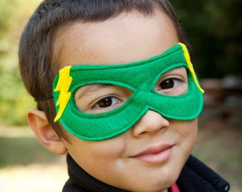 One ADJUSTABLE Super Hero MASK. Lightning Bolt Mask. Birthday Party, Stocking Stuffer or Super Hero Cape Accessory. Choose from 20 colors
