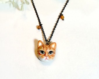 Orange cat necklace, Orange cat pendant, polymer clay cat, cat sculpture, cat lover gifts