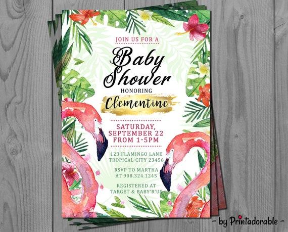 Flamingo Invite - Tropical Invite - Flamingo Invitation - Flamingo Baby Shower - Flamingo Party - Tropical Invitation - Flamingo Tropical