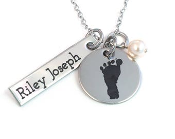 Footprint Necklace with Your Child's Actual Foot Print - Stainless Steel - Personalized Foot Print Necklace - Actual Footprint - New Mom