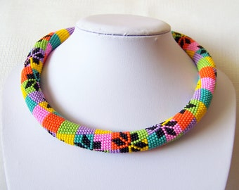 Chunky Colorful Bright Geometric necklace - Bead crochet rope necklace - multi color beadwork necklace - modern necklace - art jewelry