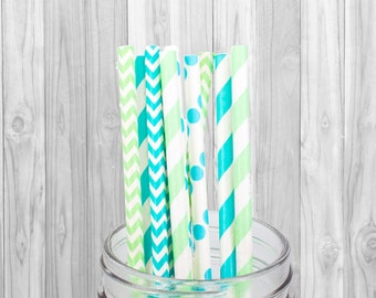 Blue & Green Paper Straws, Party Supplies, Birthday Party decorations - Wedding - Baby Shower - Straws - Mason Jar Straws - Baptism - 25 pcs
