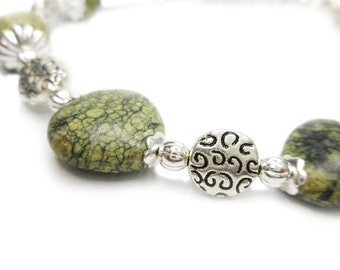 Evergreen - Green Russian Serpentine Stone and Pewter Swirls Bracelet