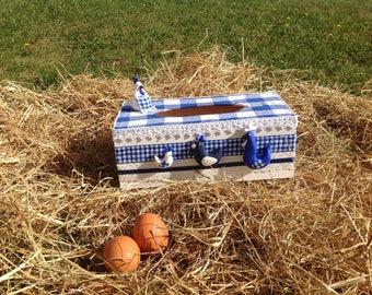 Tissue holder, wooden, home deco kitchen, chiken, Blue, white