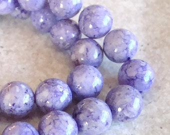 Fossil Beads 6mm Natural Lilac Purple Smooth Round Stones - 8 Inch Strand