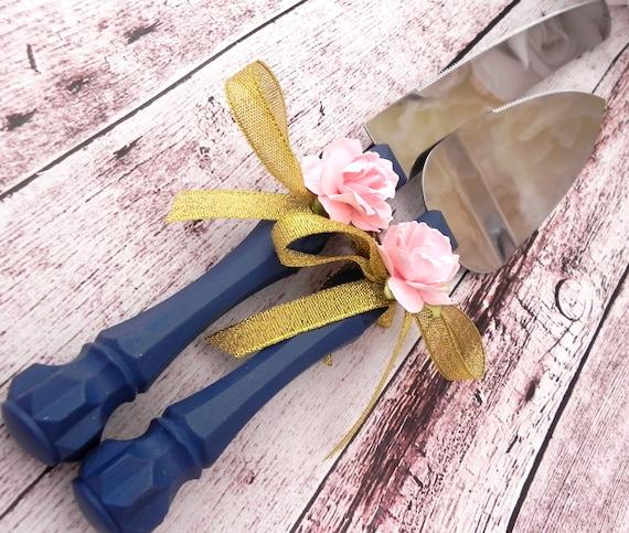Shabby Chic Wedding Cake Server And Knife Set, Navy Blue, Gold Ribbon and Pink Rose, Bridal Shower Gift, Wedding Gift