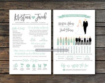silhouette wedding program, wedding program, wedding party silhouettes, ceremony program, wedding program fan, PRINTABLE or PRINTED PROGRAMS