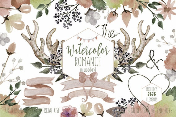 RUSTIC FLORAL WATERCOLOR Clipart Commercial Use Clip Art Romantic Blush Nude Woodland Wedding Boho Flower Bouquets Deer Antlers Backgrounds From ClipArtBrat