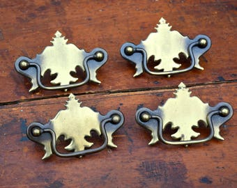 Chippendale Batwing Drawer Pulls Brass Handles/ 3 Inch Centers / Set of 4