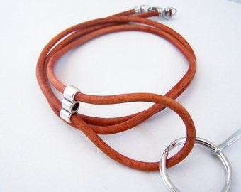 ID Lanyard, Leather Badge Lanyard, Antique Orange or Red, Id Lanyard, 26-36 Inchs, Mens Lanyard, Key Chain, by Eyewearglamour