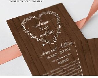 Editable Wood Wedding Program, Wooden Wedding Programs, Wedding Program Fans, Rustic Wedding Ceremony Program, Instant Download, digital C6