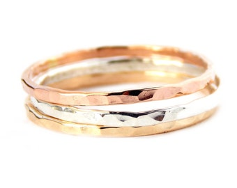 3 Reflection Stacking Rings: 14K Gold-filled ring, hammered ring, dainty ring, simple ring, gold ring, silver ring, skinny ring, textured