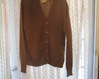 Vintage 1960s XL Jantzen Cardigan Light Brown With Tags Shetland Wool