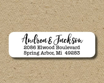 Return address labels, calligraphy script return address labels, custom colors, self-adhesive return address stickers, custom address labels
