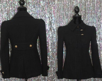 Juicy Couture Black Wool Coat w/ Gold Buttons (P) *Excellent Condition