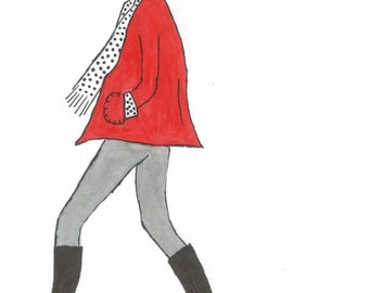 Spotty - Lady walking Dog Art - Print A4