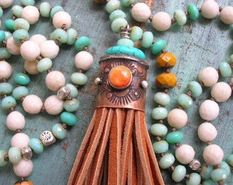 Southwestern tassel necklace, boho jewelry, country cowgirl necklace, sterling silver, copper jewelry,  leather tassel, turquoise blue