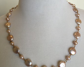 Pearl Necklace, Gold Wire Wrap