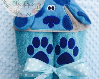 3D Blue Dog Hooded Towel--CUSTOMIZABLE!!
