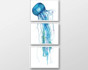 3-piece art print, triptych, jellyfish watercolor painting 3 x A3, autographed
