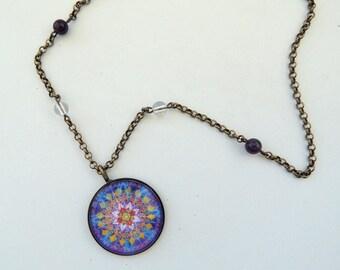 Healing Necklace MELODY of the STARS MANDALA Purple Yellow Mandala Jewelry With Meaning Healing Jewelry Celestial Necklace Mandala Necklace