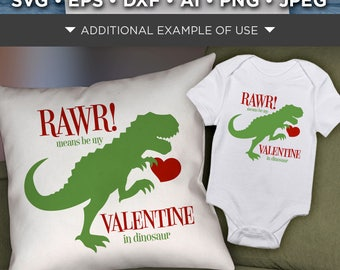RAWR Means I Love You In Dinosaur Svg - Valentines Dinosaur Svg File - Valentines Day Dinosaur SVG File - Valentine Dinosaur - 1523