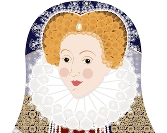 Queen Elizabeth I of England Wall Art Print featuring royal figure drawn in a Russian matryoshka nesting doll shape