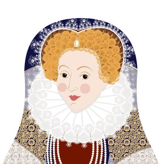 Queen Elizabeth I of England Art Print, matryoshka doll